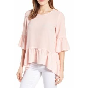 Gibson Light Pink Ruffle Hem Blouse Size Medium